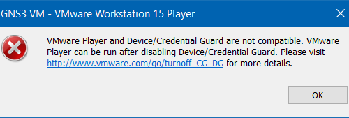 Solución: VMware Workstation Device/Credential Guard are not compatible